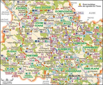 Carte Yonne Touristique.La Maladrerie Gite A Chablis Yonne Bourgogne